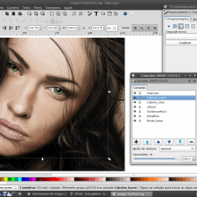 """Megan Fox"" by Luciano Lourenço using Inkscape on Debian."