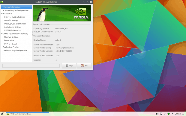 Installed, with Nvidia