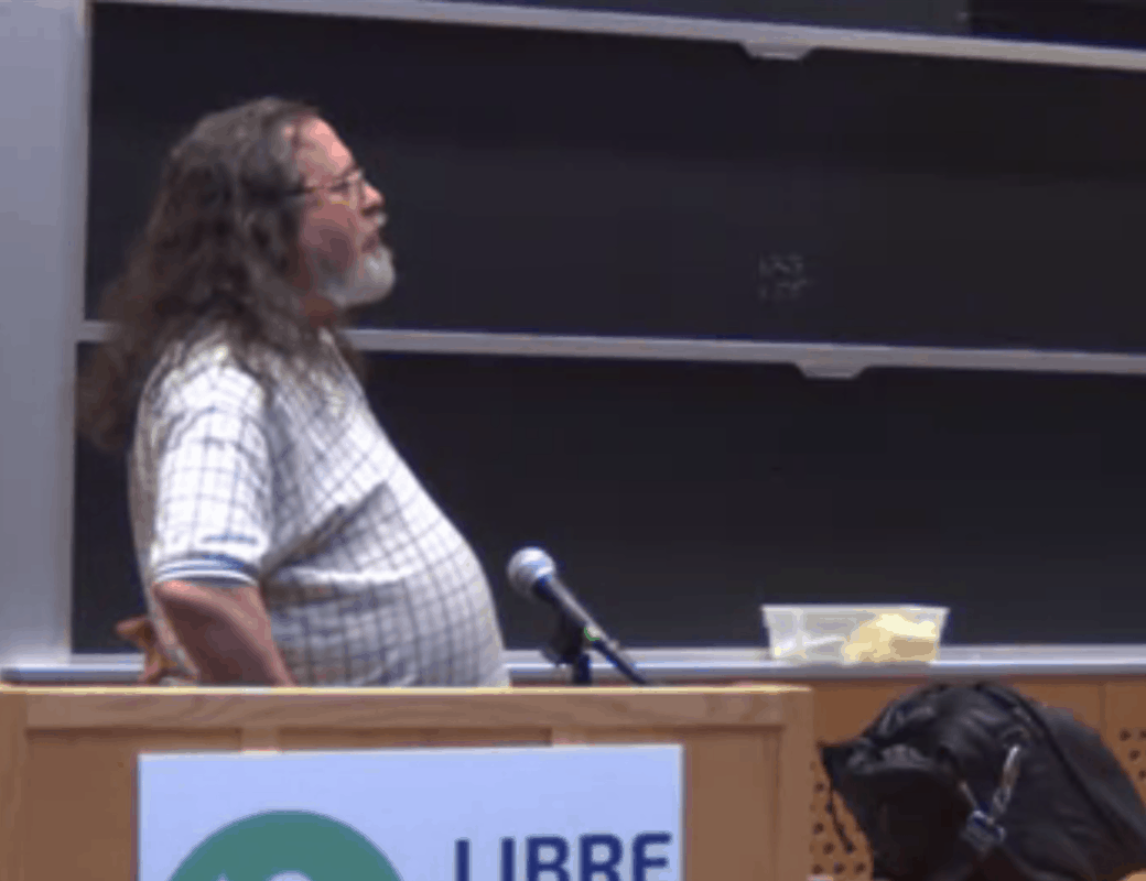 Richard Stallman answers questions during the 2015 LibrePlanet keynote.