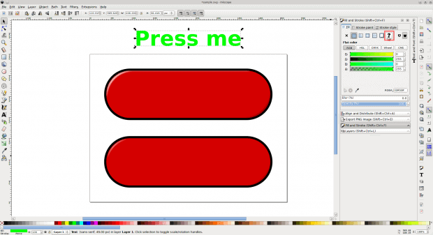 Figure 3: Create the text for your button and unset its fill and stroke attributes.