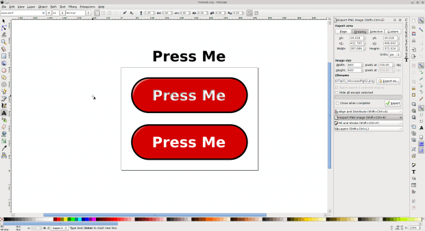 Figure 4: Apply a non-destructive effect to the text in the first button. In this case I made it look hollow.