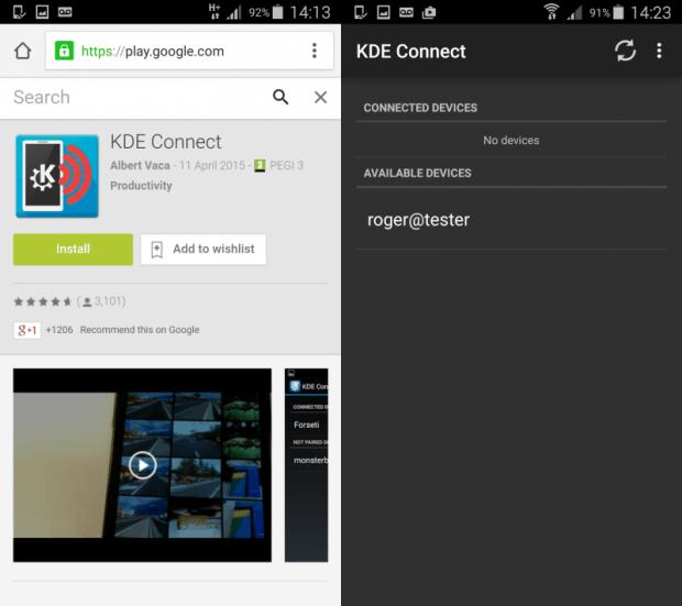 KDE Connect, install & run
