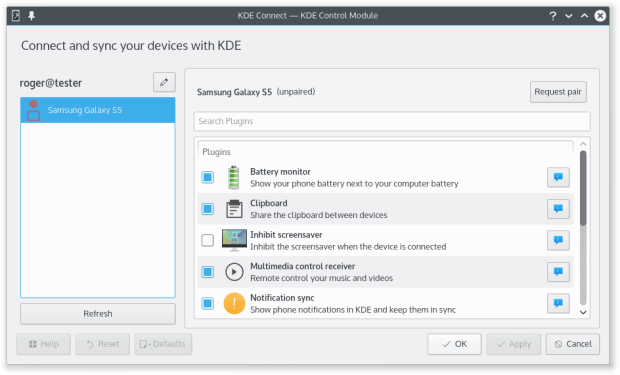 KDE Connect, unpaired