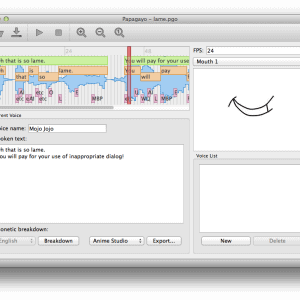 Papagayo allows you to synchronize speech with your characters' mouths.