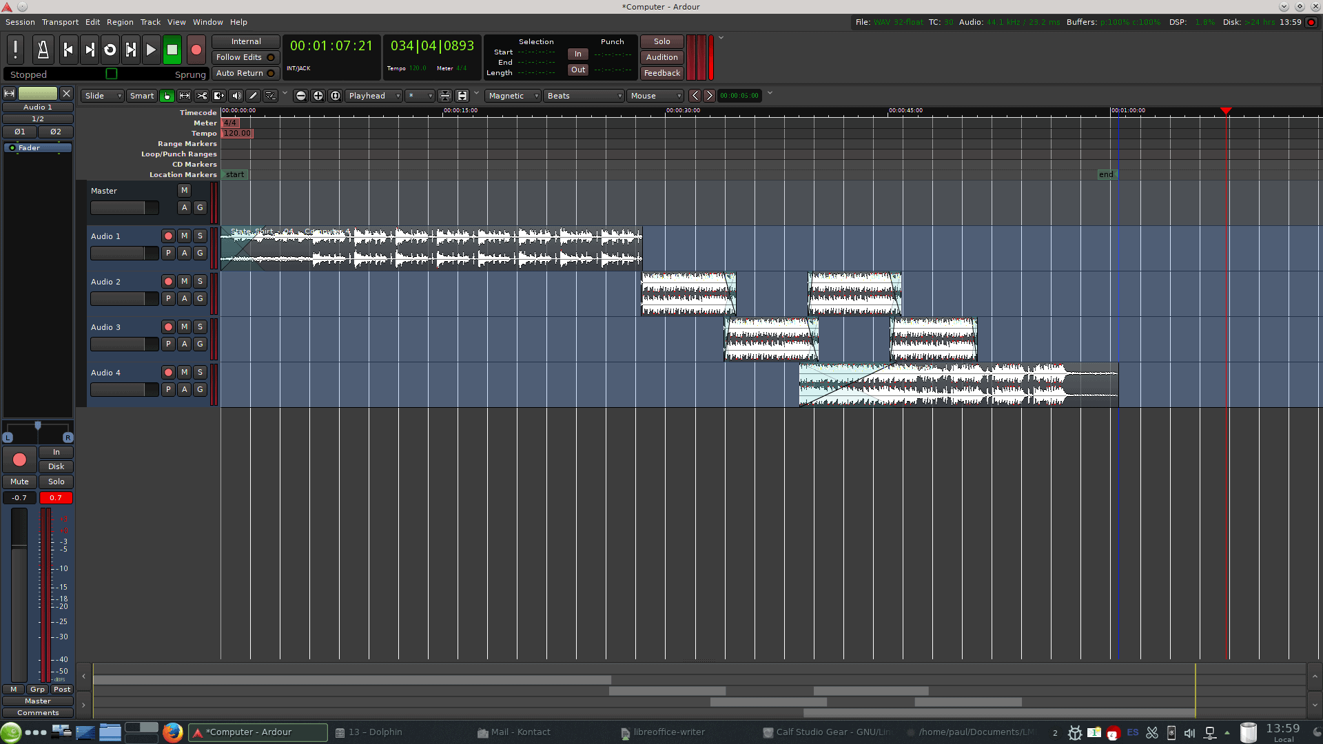 Ardour is a full-featured and cool-looking audio track editor.