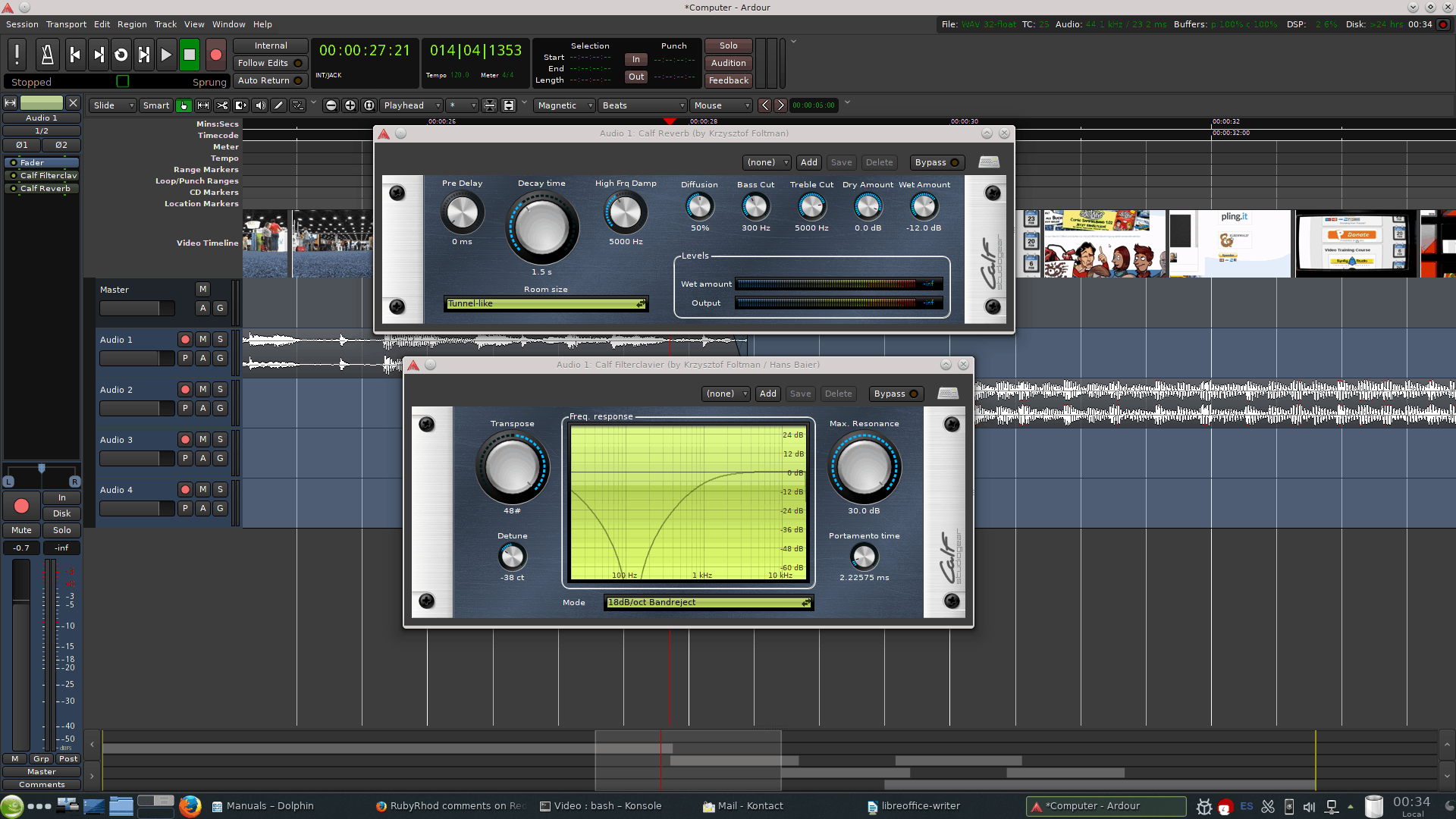 Ardour comes with a wide variety of plugins by default. It can also use VST and LADSPA plugins.