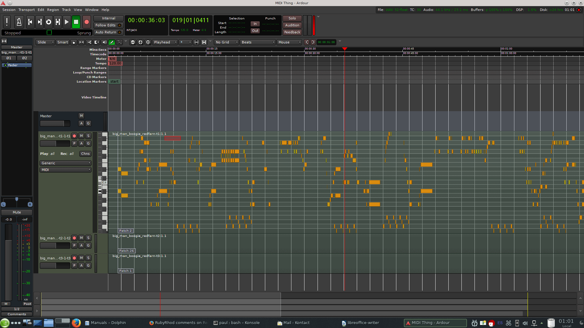 Expand a MIDI track to show the piano roll. Use the pencil tool to add and edit notes.