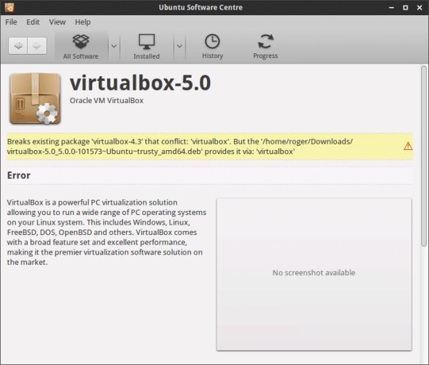 VirtualBox 5 conflict