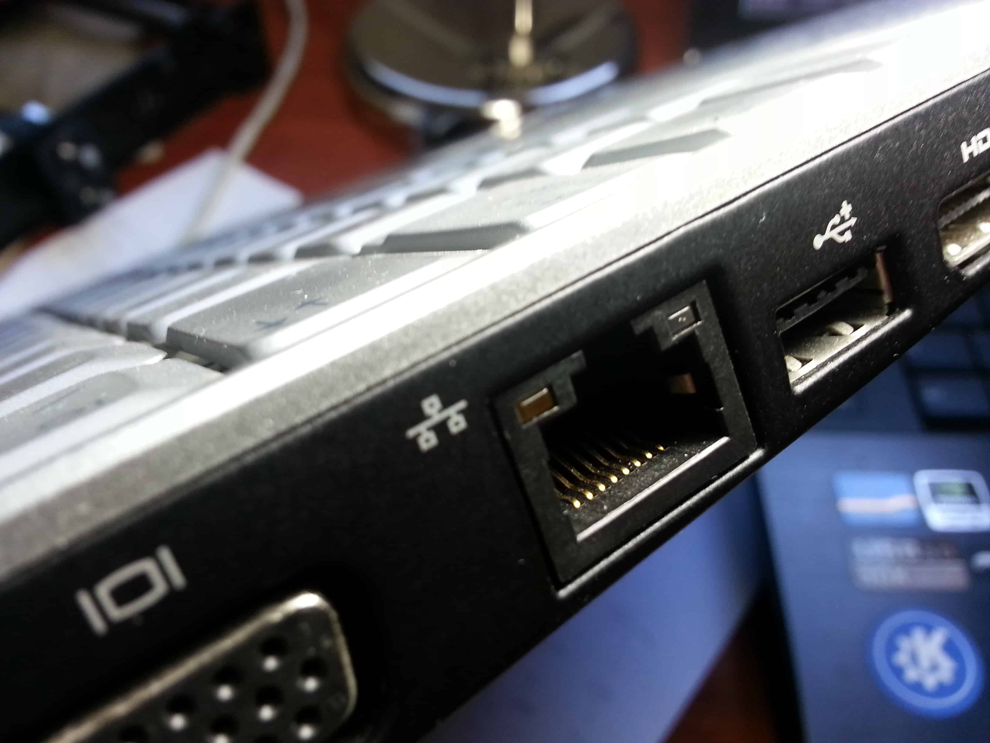 RJ45 port on a laptop computer.