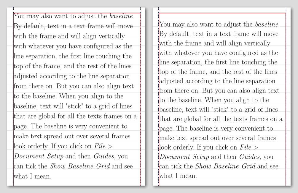 Text with an automatic vertical alignment on the left, and aligned to the baseline on the right.