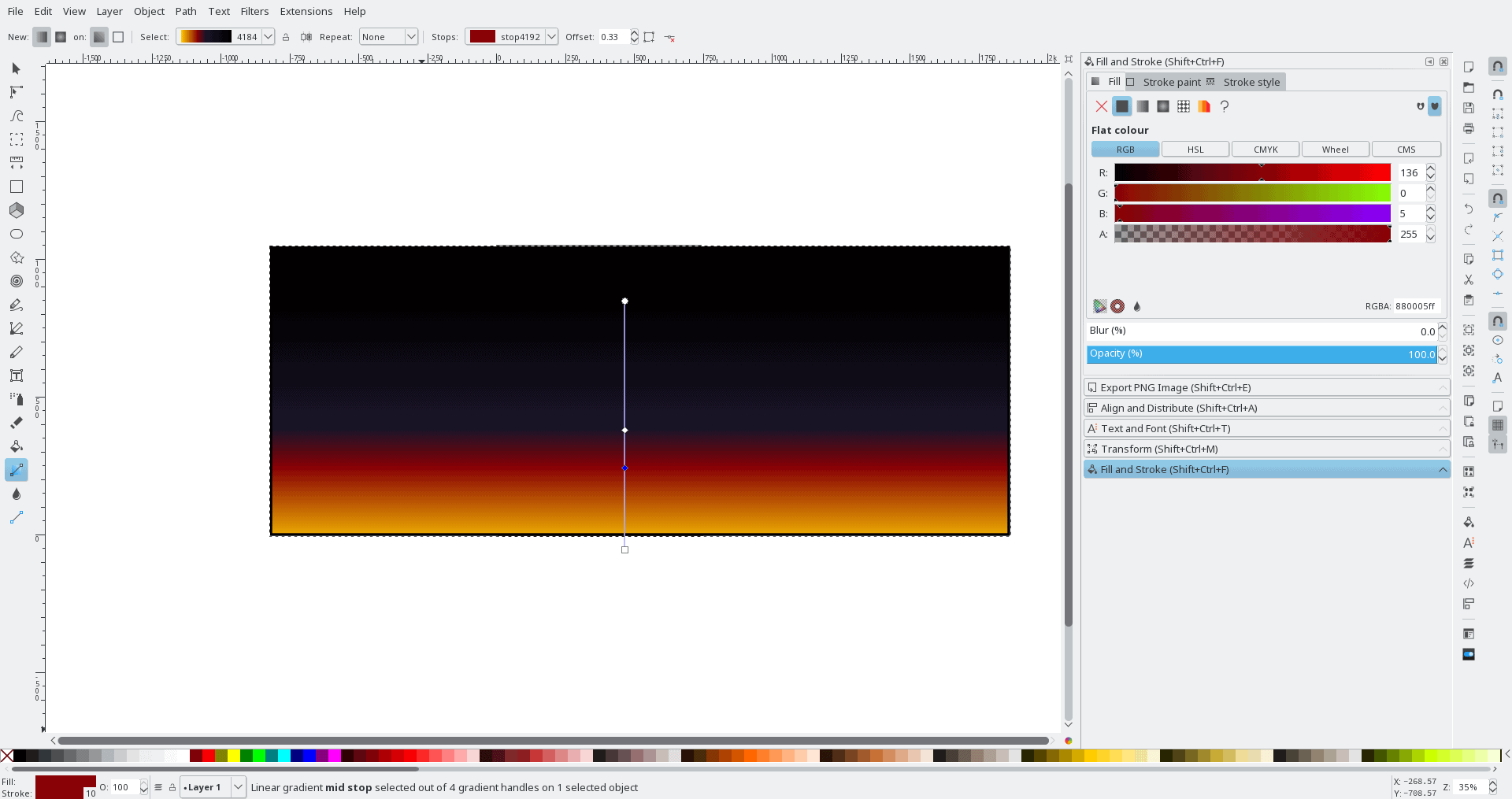 A simple linear gradient with several colours trying lamely to simulate sundown.