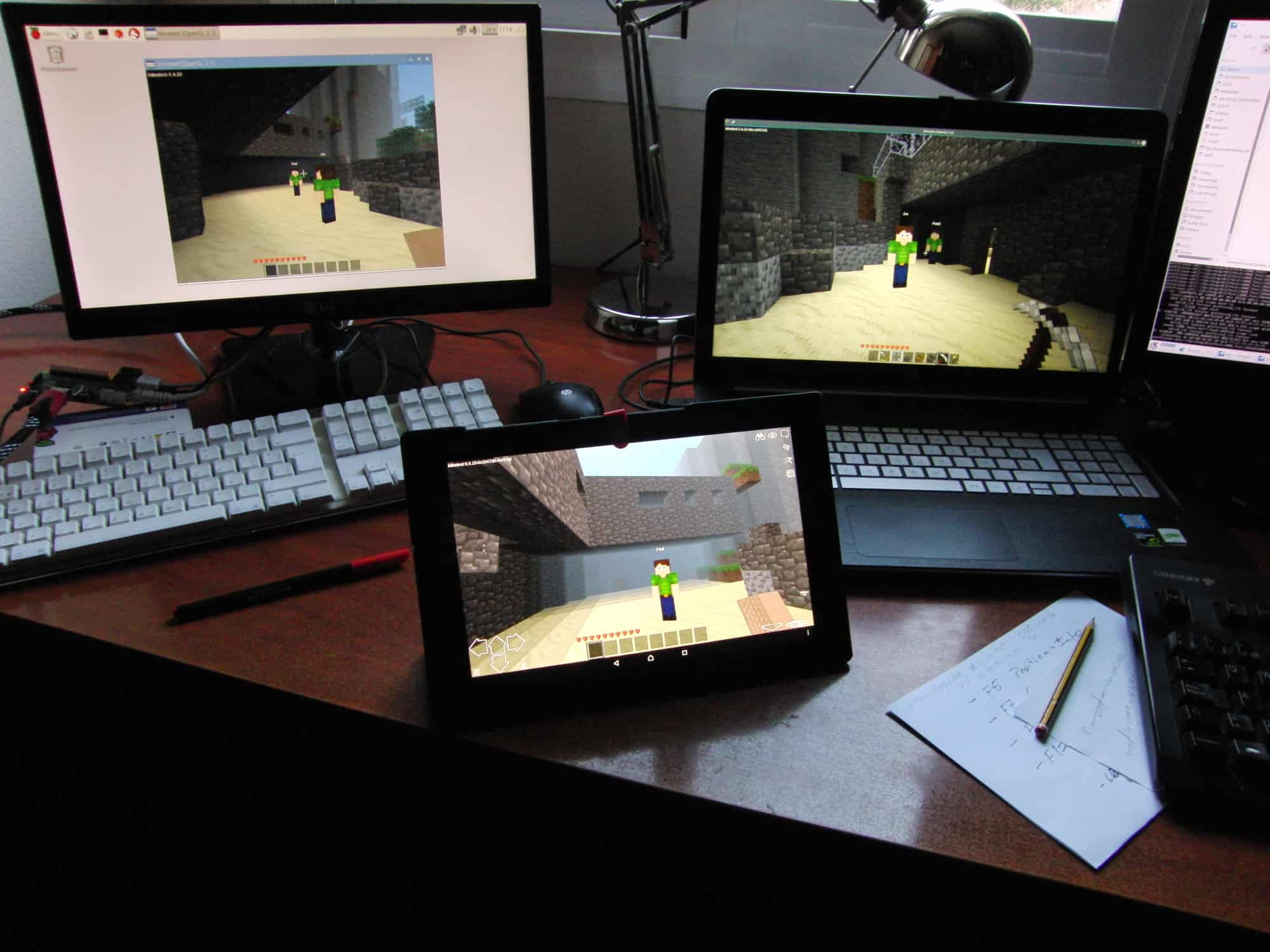 From left to right, Minetest running on a Raspberry Pi, an Android tablet, and a PC with Linux.