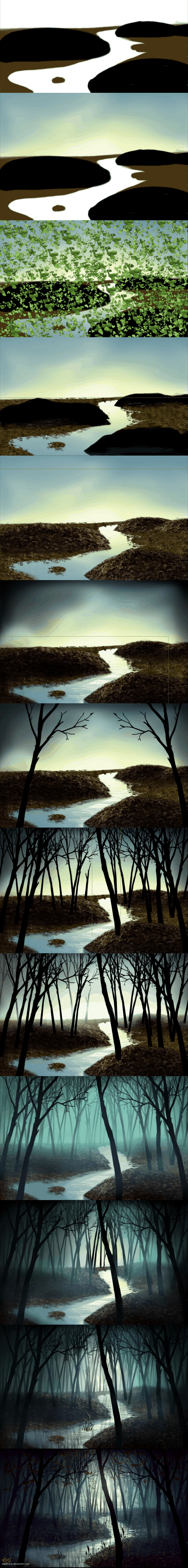 How Evelyne creates a landscape, from draft to final painting.