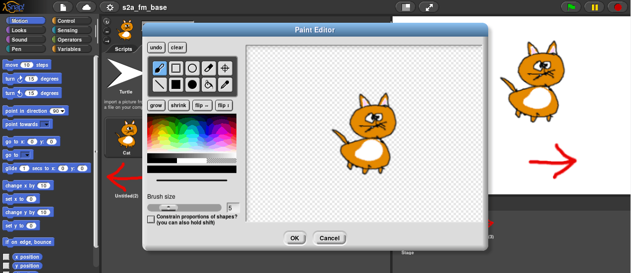 Draw your own sprites with the inline editor, ...