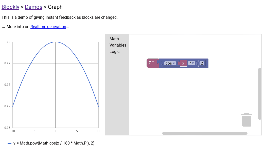 You can use blocks to generate graphs of mathematical functions.