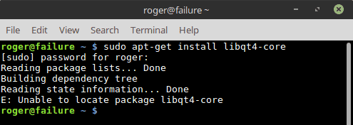 LibQt4-core missing