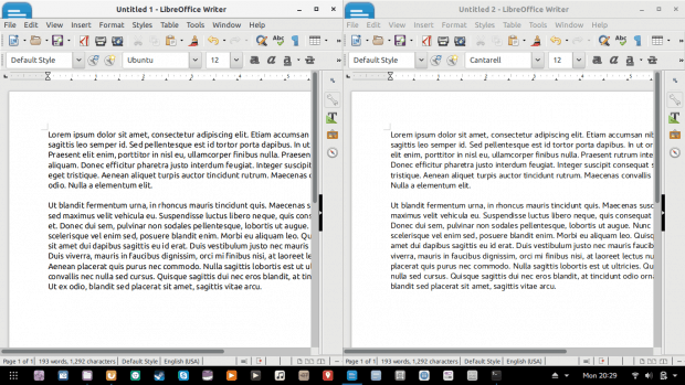 Comparison between default Fedora fonts - Cantarell (right) and Ubuntu fonts (left), 110% line spacing