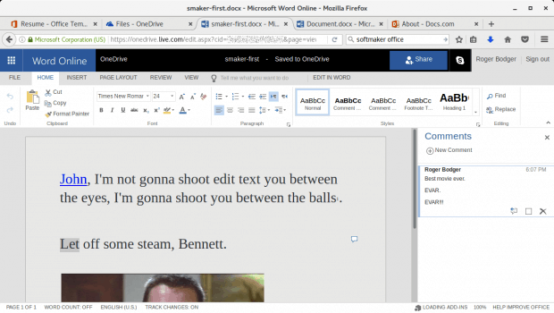 TextMaker DOCX loaded in MS Office Online