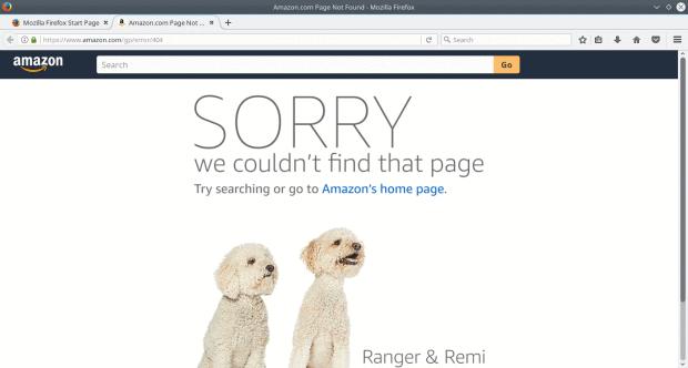 404 page, Amazon