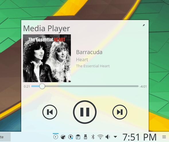 System area, music widget
