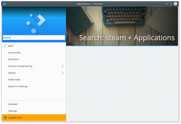 Steam, empty search under applications