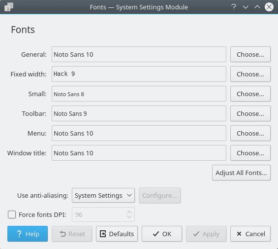 Default fonts