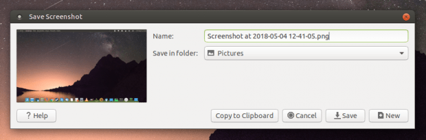 Screenshot tool, New button