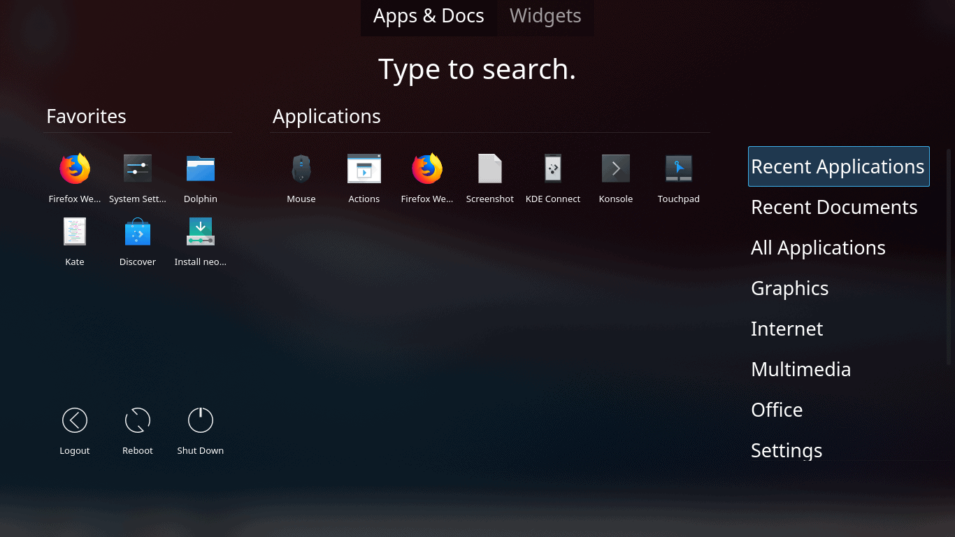 You can separately access categories, favorites and search inline for either apps or widgets. Neat.