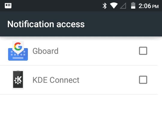 KDE Connect, permissions