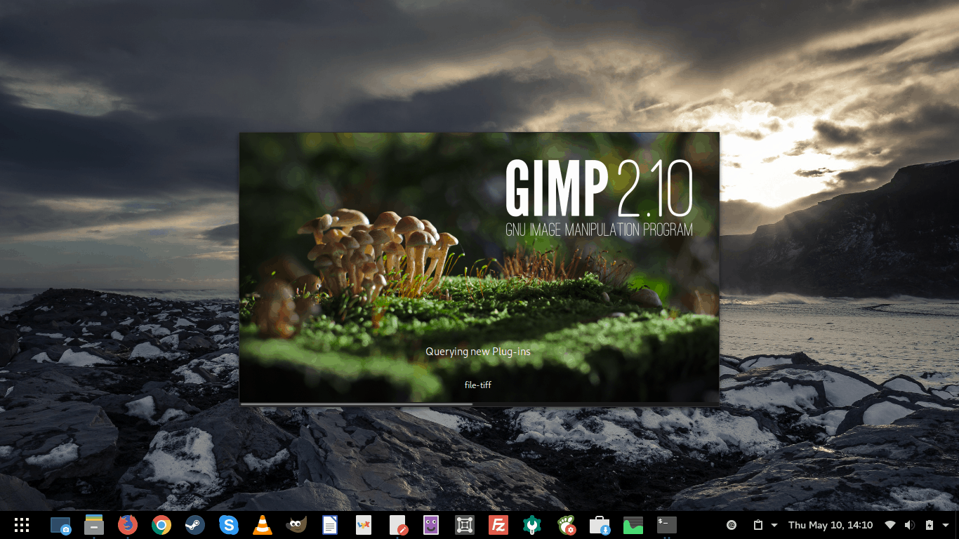 GIMP 2.10 launching