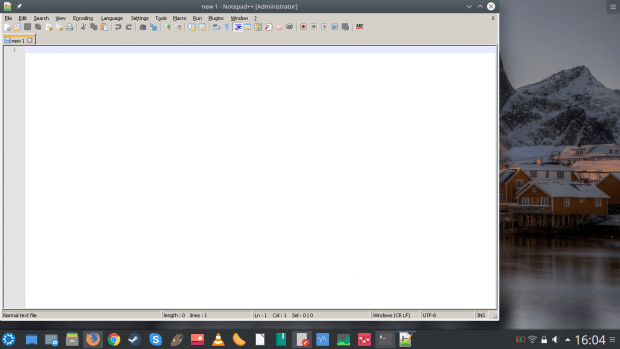 Notepad++ running
