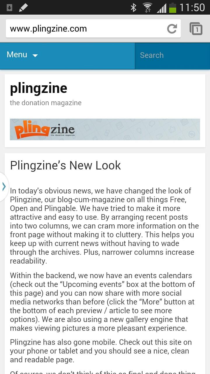 Plingzine's new mobile look